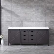 Lexora Marsyas 80 Inch Brown Double Vanity, White Quartz Top, White Square Sinks and no Mirror