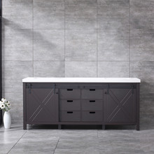 Lexora Marsyas 80 Inch Brown Double Vanity, White Quartz Top, White Square Sinks and no Mirror