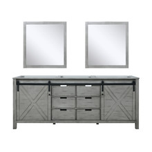 Lexora Marsyas 80 Inch Ash Grey Double Vanity, no Top and 30 Inch Mirrors