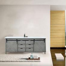 Lexora Marsyas 80 Inch Ash Grey Double Vanity, White Quartz Top, White Square Sinks and no Mirror