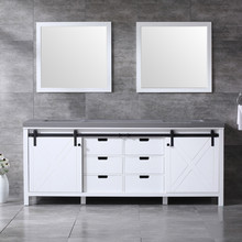 Lexora Marsyas 84 Inch White Double Vanity, Grey Quartz Top, White Square Sinks and 34 Inch Mirrors