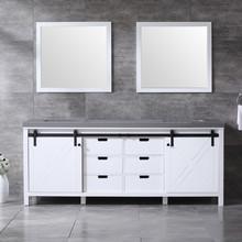 Lexora Marsyas 84 Inch White Double Vanity, Grey Quartz Top, White Square Sinks and 34 Inch Mirrors