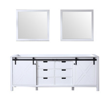 Lexora Marsyas 84 Inch White Double Vanity, no Top and 34 Inch Mirrors