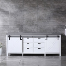 Lexora Marsyas 84 Inch White Double Vanity, Grey Quartz Top, White Square Sinks and no Mirror