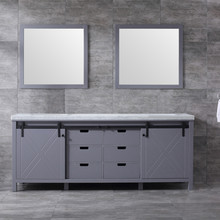 Lexora Marsyas 84 Inch Dark Grey Double Vanity, White Carrara Marble Top, White Square Sinks and 34 Inch Mirrors