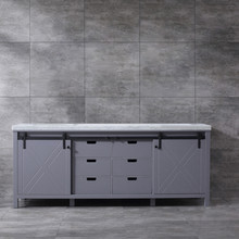 Lexora Marsyas 84 Inch Dark Grey Double Vanity, White Carrara Marble Top, White Square Sinks and no Mirror