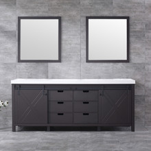 Lexora Marsyas 84 Inch Brown Double Vanity, White Quartz Top, White Square Sinks and 34 Inch Mirrors