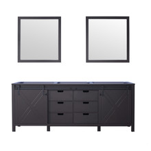 Lexora Marsyas 84 Inch Brown Double Vanity, no Top and 34 Inch Mirrors