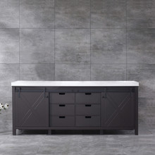 Lexora Marsyas 84 Inch Brown Double Vanity, White Quartz Top, White Square Sinks and no Mirror