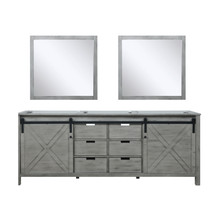 Lexora Marsyas 84 Inch Ash Grey Double Vanity, no Top and 34 Inch Mirrors