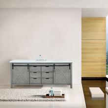 Lexora Marsyas 84 Inch Ash Grey Double Vanity, White Quartz Top, White Square Sinks and no Mirror