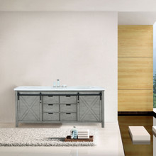 Lexora Marsyas 84 Inch Ash Grey Double Vanity, White Quartz Top, White Square Sinks and no Mirror