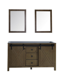 Lexora Marsyas Veluti 60 Inch Rustic Brown Double Vanity, no Top and 24 Inch Mirrors