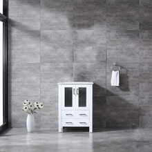 Lexora Volez 24 Inch White Single Vanity, Integrated Top, White Integrated Square Sink and no Mirror