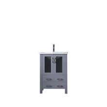 Lexora Volez 24 Inch Dark Grey Single Vanity, Integrated Top, White Integrated Square Sink and no Mirror