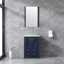 Lexora Volez 24 Inch Navy Blue Single Vanity, Integrated Top, White Integrated Square Sink and 22 Inch Mirror