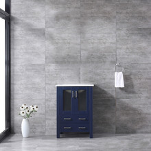 Lexora Volez 24 Inch Navy Blue Single Vanity, Integrated Top, White Integrated Square Sink and no Mirror
