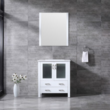 Lexora Volez 30 Inch White Single Vanity, Integrated Top, White Integrated Square Sink and 28 Inch Mirror