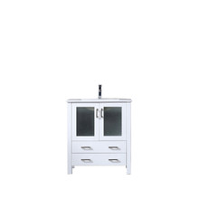 Lexora Volez 30 Inch White Single Vanity, Integrated Top, White Integrated Square Sink and no Mirror