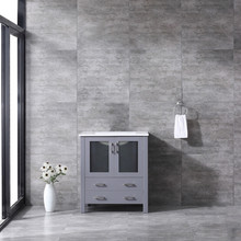Lexora Volez 30 Inch Dark Grey Single Vanity, Integrated Top, White Integrated Square Sink and no Mirror