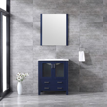 Lexora Volez 30 Inch Navy Blue Single Vanity, Integrated Top, White Integrated Square Sink and 28 Inch Mirror