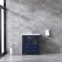 Lexora Volez 30 Inch Navy Blue Single Vanity, Integrated Top, White Integrated Square Sink and no Mirror