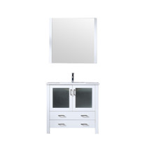 Lexora Volez 36 Inch White Single Vanity, Integrated Top, White Integrated Square Sink and 34 Inch Mirror