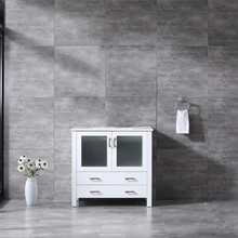 Lexora Volez 36 Inch White Single Vanity, Integrated Top, White Integrated Square Sink and no Mirror