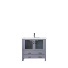 Lexora Volez 36 Inch Dark Grey Single Vanity, Integrated Top, White Integrated Square Sink and no Mirror