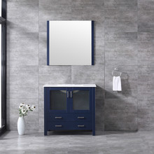 Lexora Volez 36 Inch Navy Blue Single Vanity, Integrated Top, White Integrated Square Sink and 34 Inch Mirror
