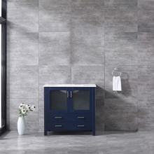 Lexora Volez 36 Inch Navy Blue Single Vanity, Integrated Top, White Integrated Square Sink and no Mirror