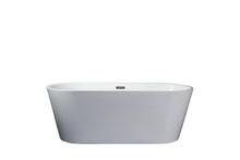 Lexora Melina 63 Inch Free Standing Acrylic Bathtub w/ Chrome Drain