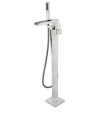 Lexora Cascata Free Standing Bathtub Filler Faucet w/ Handheld Shower Wand - Brushed Nickel