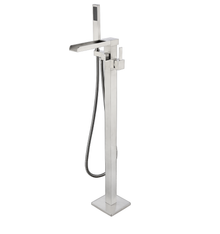 Lexora Cascata Free Standing Bathtub Filler Faucet w/ Handheld Shower Wand - Brushed Nickel
