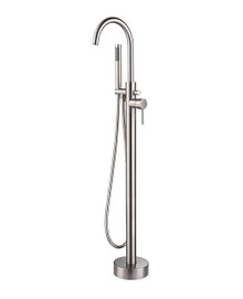 Lexora Lago Free Standing Bathtub Filler Faucet w/ Handheld Shower Wand - Brushed Nickel