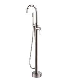 Lexora Lago Free Standing Bathtub Filler Faucet w/ Handheld Shower Wand - Brushed Nickel