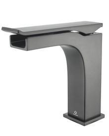 Lexora Balzani Brass Single Hole Waterfall Bathroom Faucet - Gun Metal