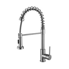 Lexora Lanuvio Brass Kitchen Faucet w/ Pull Out Sprayer - Brushed Nickel