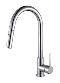 Lexora Olivi Brass Kitchen Faucet w/ Pull Out Sprayer - Chrome