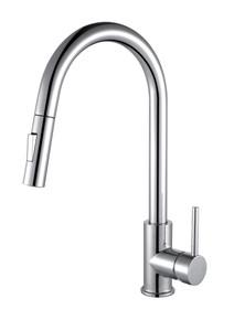 Lexora Olivi Brass Kitchen Faucet w/ Pull Out Sprayer - Chrome