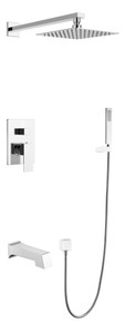 Lexora Monte Celo Stainless Steel Square Tub & Shower Faucet  with Handshower - Chrome