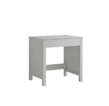 Lexora Jacques 30 Inch White Make-Up Table, White Carrara Marble Top