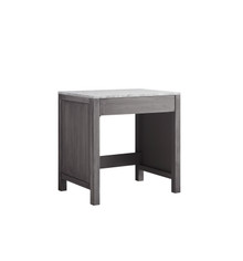 Lexora Jacques 30 Inch Distressed Grey Make-Up Table, White Carrara Marble Top