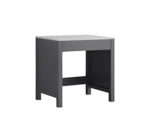 Lexora Jacques 30 Inch Dark Grey Make-Up Table, White Carrara Marble Top