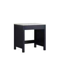 Lexora Jacques 30 Inch Navy Blue Make-Up Table, White Carrara Marble Top