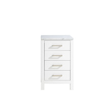 Lexora Jacques 20 Inch White Side Cabinet, White Carrara Marble Top