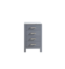 Lexora Jacques 20 Inch Dark Grey Side Cabinet, White Carrara Marble Top