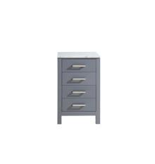 Lexora Jacques 20 Inch Dark Grey Side Cabinet, White Carrara Marble Top