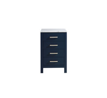 Lexora Jacques 20 Inch Navy Blue Side Cabinet, White Carrara Marble Top