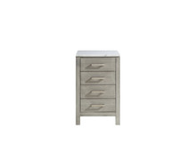 Lexora Jacques 20 Inch Distressed Grey Side Cabinet, White Carrara Marble Top